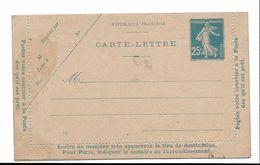 FRANCE - Carte Lettre Neuve -  Semeuse Camée ( Réf.Yvert 140-CL 1) - Voir Scann - Entiers Postaux