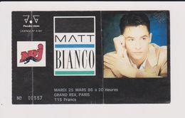Concert MATT BIANCO 25 Mars 1986 Grand Rex Paris. - Tickets De Concerts
