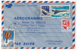 Aérogramme 1,00 Concorde - Centenaire De La Poste Par Ballons Montés - 1971 - Entiers Postaux