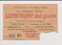 Concert SUPERTRAMP AND GUEST 10 Juin 1983. - Concert Tickets