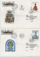 CZECHOSLOVAKIA 1991 Historic Prague And Bratislava On Two FDC.  Michel 3096-97 - FDC