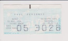Concert PAUL PERSONNE 18mars 1986 Olympia. - Tickets De Concerts