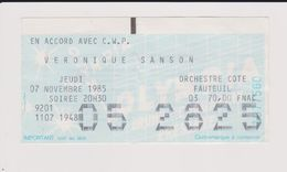 Concert VERONIQUE SANSON 7 Novembre 1985 Olympia. - Tickets De Concerts