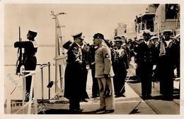 Mussolini Hitler Panzerschiff Cavour WK II PH It. 19 Foto AK I-II - Weltkrieg 1939-45