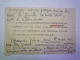 FAIRE-PART De FIANCAILLES  De Monique  Fille Du Marquis De LARBOUST De THERMES   XXX - Fiançailles