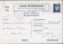 Entier Petain Kriegsgefangenenpost Salon Prisonnier Noël 1941 Censure 7 Geprüft Oflag XXI B Type I Oblit Frankers 5 1 42 - Marcophilie (Lettres)