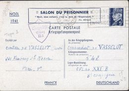 Entier Petain Kriegsgefangenenpost Salon Prisonnier Noël 1941 Censure 7 Geprüft Oflag XXI B Type I Oblit Frankers 5 1 42 - Poststempel (Briefe)