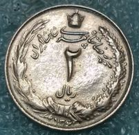 "Iran 2 Rials, 2536 (1977) ""محمّدرضا شاه پهلوی شاهنشاه ایران"" - Iran"