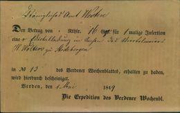 1849, VERDEN Gedruckte Anzeigenquittung - Hannover