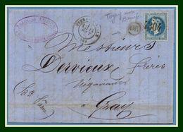 GC 4304 / N° 29 Type 17 Vitry La Ville (49) 1869 + OR Togny Aux Bœufs  > Gray T17 + Amb (ind 7) Antonini Aubry - Marcophilie (Lettres)