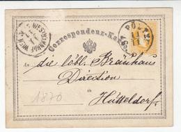Austria, Postal Stationery Correspondenz-karte Travelled 1870 Sankt Pölten Pmk B180830 - Ganzsachen