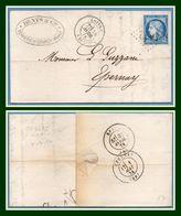 GC 4672 / N° 60 Type 17 Loivre (49) 1874 > Epernay T17 Par Reims T17 (ind 7) Denys Verrerie De Courcy - Postmark Collection (Covers)