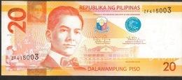 PHILIPPINES P206c  20  PISO   2013 Prefix ZF     UNC. - Philippines