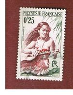 POLINESIA FRANCESE  (FRENCH POLYNESIA ) - SG 2  - 1958 GIRL PLAYING GUITAR - USED° - Polinesia Francese