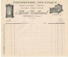88 POUXEUX Papier En-tête ébeniste Albert BALLAND (1930) - France