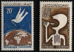 Tunesia 1963 Fight Against Starvation 2 Values MNH Spoon Mouth Dove Ear Of Corn Globe - Contro La Fame