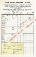 BASEL (SUISSE) Facture De 1948 - ELITE HOTEL STORCHEN - Suisse