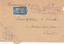 LETTRE COVER. SENEGAL. 10 AVRIL 31 RECOMMANDÉ St LOUIS POUR PARIS. CACHET MILITAIRE ARTILLERIE COLONIALE - Storia Postale