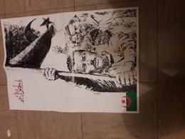 Magnifique Affichette  56x40 Cm Depliee  El Djazair Par Luis Garcia - Affiches & Offsets