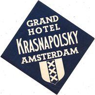 Anc. Etiquette D'Hôtel /de Bagages -Vintage Luggage Label-HOLLANDE - GRAND  HOTEL KRASNAPOLSKY à AMSTERDAM - Etiquettes D'hotels