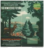 Schmiedefeld Am Rennsteig 1937 - Faltblatt Mit 12 Abbildungen - Beiliegend Wohnungsliste - Reiseprospekte
