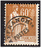 France  Préoblitéré N° 72 XX  Type Paix : 60 C. Bistre, Sans Charnière,TB - Precancels