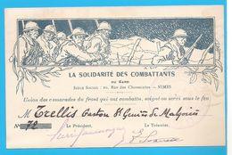 CARTON: LA SOLIDARITE DES COMBATTANTS DU GARD - Siége Social Nimes - MILITARIA - WW1 - NIMES - Nîmes