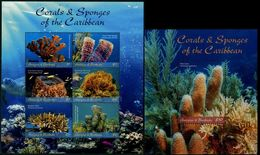 Antigua 2018 Corals & Sponges MS + SS MNH - Vita Acquatica
