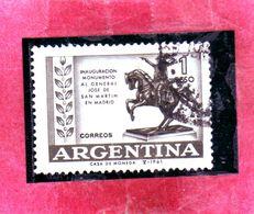 ARGENTINA 1961 MONUMENTO AL GENERAL JOSE DE SAN MARTIN STATUE STATUA GENERALE MADRID PESO 1p USATO USED OBLITERE' - Argentina