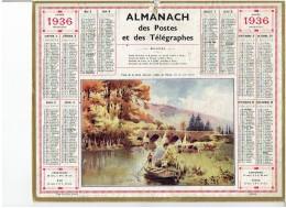 CALENDRIER - ALMANACH POSTES Et TELEGRAPHES 1936 - Pont De La Fôret Auvray Vallée De L'Orne - Grand Format : 1921-40