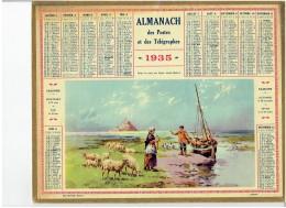 CALENDRIER - ALMANACH POSTES Et TELEGRAPHES 1935 - Dans La Baie Du Mont Saint Michel - Departement NORD Sans Carte - Calendriers