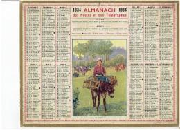 CALENDRIER - ALMANACH POSTES Et TELEGRAPHES 1934 - La Laitiere - Ane - Lait - Vache - Grand Format : 1921-40