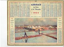 CALENDRIER - ALMANACH POSTES Et TELEGRAPHES 1934  - Marais Salants Au CROISIC - Sel - Saline - Paludier - Grand Format : 1921-40