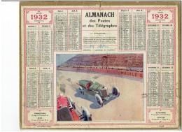 CALENDRIER - ALMANACH POSTES Et TELEGRAPHES 1932 - Courses Automobile - Autodrome De MONTLHERY - Grand Format : 1921-40