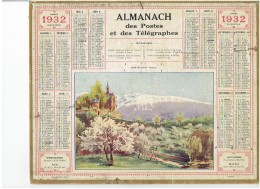 CALENDRIER - ALMANACH POSTES Et TELEGRAPHES 1932 - MONTFLEURY (isére) - Departement  Carte Du PAS DE CALAIS Complet - Grand Format : 1921-40