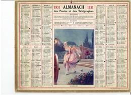 CALENDRIER - ALMANACH POSTES Et TELEGRAPHES 1931 - Cendrillon - Departement  Carte Du NORD Complet - Grand Format : 1921-40