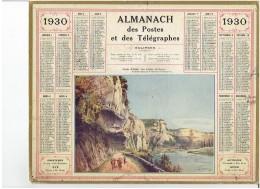 CALENDRIER - ALMANACH POSTES Et TELEGRAPHES 1930 - Gorge De L'enfer - Les EYZIES - Departement  Carte Du NORD Complet - Grand Format : 1921-40
