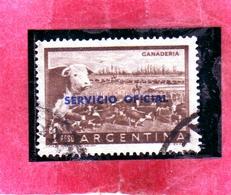 ARGENTINA 1959 LIVESTOCK GANADERIA BESTIAME OVERPRINTED SERVICE SERVIZIO SERVICIO OFICIAL PESO 1p USATO USED OBLITERE' - Servizio
