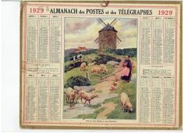 CALENDRIER - ALMANACH POSTES Et TELEGRAPHES 1929 - Vieux Moulin à Vent Du Morbihan - Berger Bergere - Mouton - Vache - Calendars