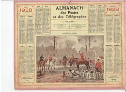 CALENDRIER - ALMANACH POSTES Et TELEGRAPHES 1928 - Au Rendez Vous De Chasse à Courre - Departement NORD Avec Carte Compl - Calendars