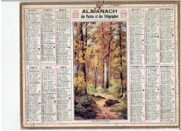 CALENDRIER - ALMANACH POSTES Et TELEGRAPHES 1928 -  Sous Bois Automne - Sanglier - Chasse - Sans Feuillet Au Dos - Grand Format : 1921-40