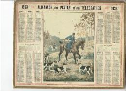 CALENDRIER - ALMANACH POSTES Et TELEGRAPHES 1923 - Chasse à Courre - Carte Du NORD Au Dos - Calendars