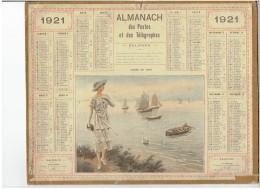 CALENDRIER - ALMANACH POSTES Et TELEGRAPHES 1921 - Calme Du Soir - Bord De Mer - Sans Feuillet Au Dos - Grand Format : 1921-40