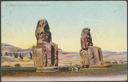 The Colosses Of Memnon, Thebes, 1910 - Lichtenstern & Harari Postcard - Luxor