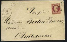 Envelop France 1853-60 Emission Empire Napoléon III Non Dentelé 80c Carmin Foncé No17al. Envoyé De St-Aignan-sur-Cher - 1849-1876: Période Classique