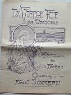 Bretagne - La Vierge File Sa Quenouille - Chanson De Jos Parker, Illustration Jacques Pohier - Musique Abel Soreau - Old Paper