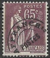 FGM - France (1922-47) - Timbre Préoblitéré : Type Paix, 65 C. Sans Gomme, Très Légère Charnière / Slightly Hinged. N°73 - 1893-1947