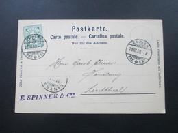 Postkarte 1900 Schweiz Zürich Firmenkarte E.Spinner & Cie Soieries Nach Lintthal Mit AK Stempel - Covers & Documents