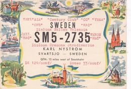 SWEDEN SM5 2735 QSL RADIO HAM RADIOAFICIONADOS YEAR 1957 CIRCULEE TO MISIONES ARGENTINE- BLEUP - Radio-amateur