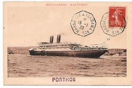 "Messageries Maritimes .- Le Porthos . - Tampon ""Marseille à Yokoama N° 5. - Steamers"